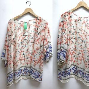 Vestique medium kimono chiffon floral top